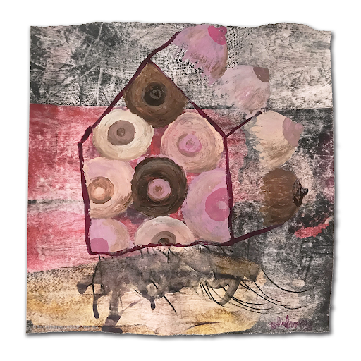 sanctus_maison-seins_sophie_lormeau_2020_28x30_technique-miste-sur-papier-magazine_art_contemporain_singulier_outsider_peinture_artiste_femme_emergente_maternite_feminite_racines_©-adagp_paris_2020