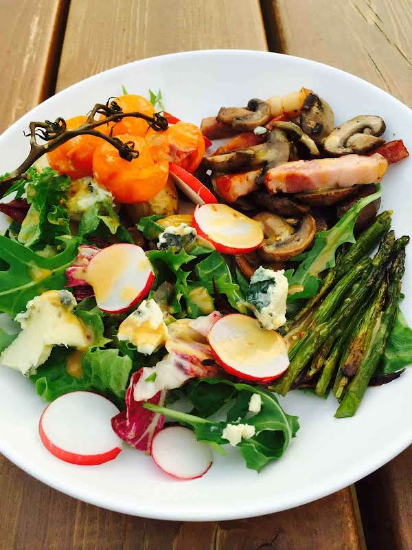 Asparagus, Potatoes, Mushrooms, Bacon! What A Superb Combination! Give This Potato And Roast Asparagus Salad A Go!