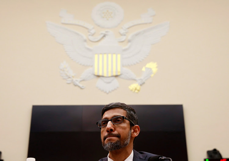 "Google CEO Sundar Pichai listens to a question as he testifies at a House Judiciary Committee hearing ""examining Google and its Data Collection, Use and Filtering Practices"" on Capitol Hill in Washington, US, December 11, 2018."
