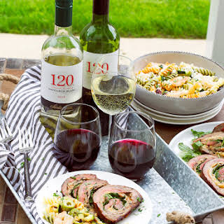 Grilled Stuffed Flank Steak And Tri Color Pasta Salad.