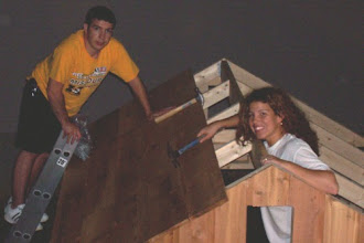 Photo: This picture is pretty bad since it's so dark, and the photo was taken from a good distance, but you can see my brother and I nailing down the cedar roof boards. Once the first row was nailed down, adding the rest of the roof boards was easy and quick!