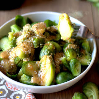 Ginger-Mustard-Miso Brussels Sprouts with Hemp Hearts.