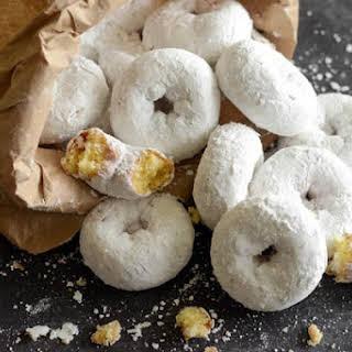 Mini Powdered Sugar Doughnuts.