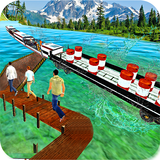 Water Train Cargo Surfer 3d