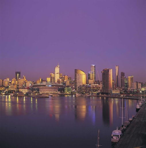 Melbourne-skyline-at-dusk - View of the Melbourne skyline from Docklands.