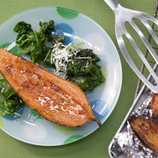 Broiled Sweet Potatoes with Spinach Salad.