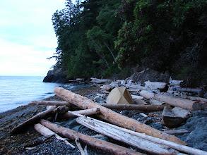 Photo: Campsite north of Davie Bay on Texada Island.