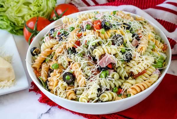 Garden Pasta Salad Ready To Be Served.