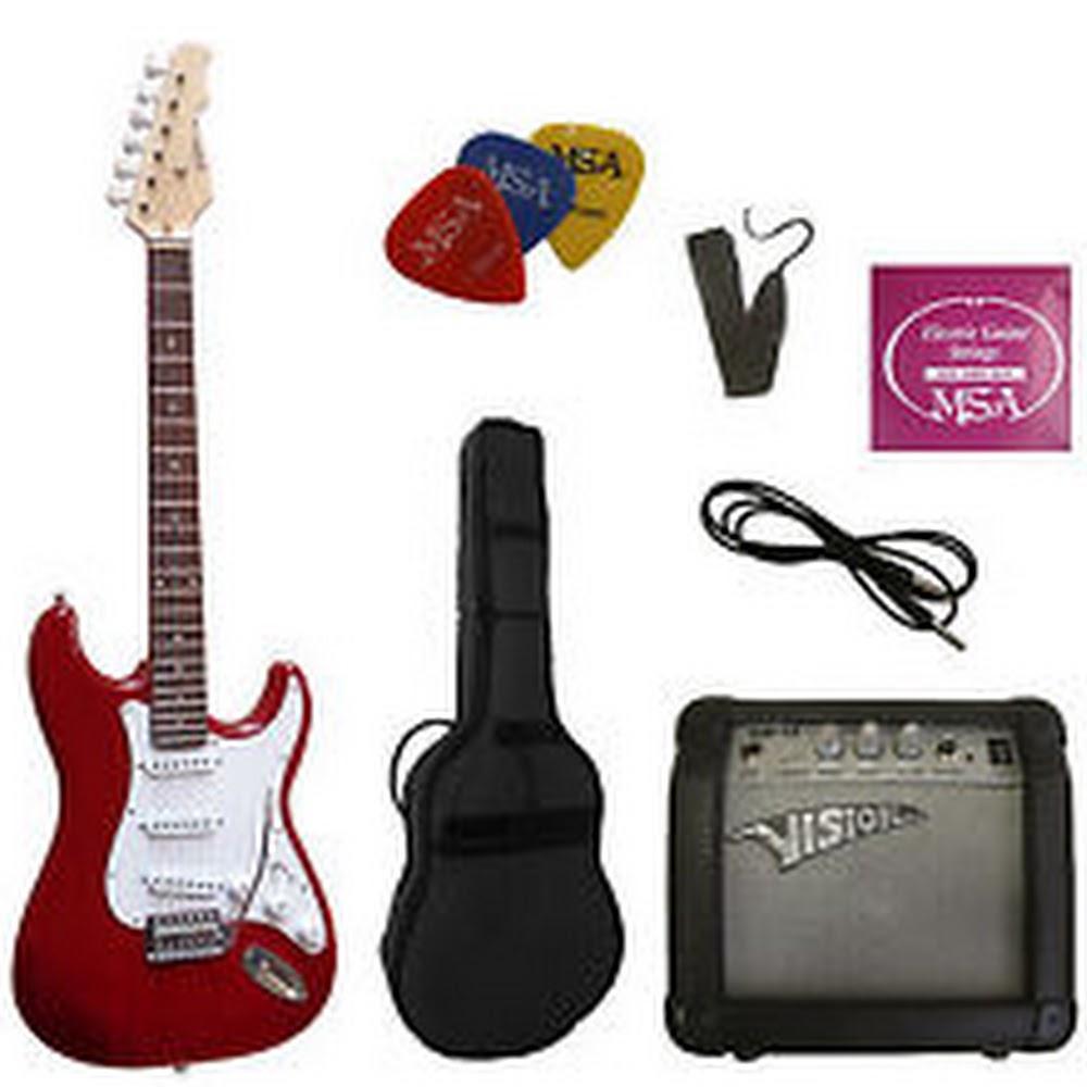 Set chitarra elettrica 4/4 stile stratocaster Rossa