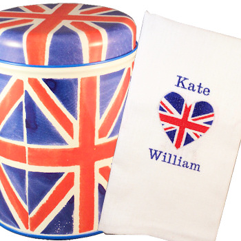 Photo: Personalised Brit Heart tea towel and Union Jack Tea Caddy
