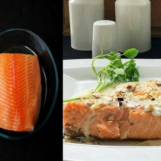 Baked Salmon with Almond Crumbs and Creamy Sauce.