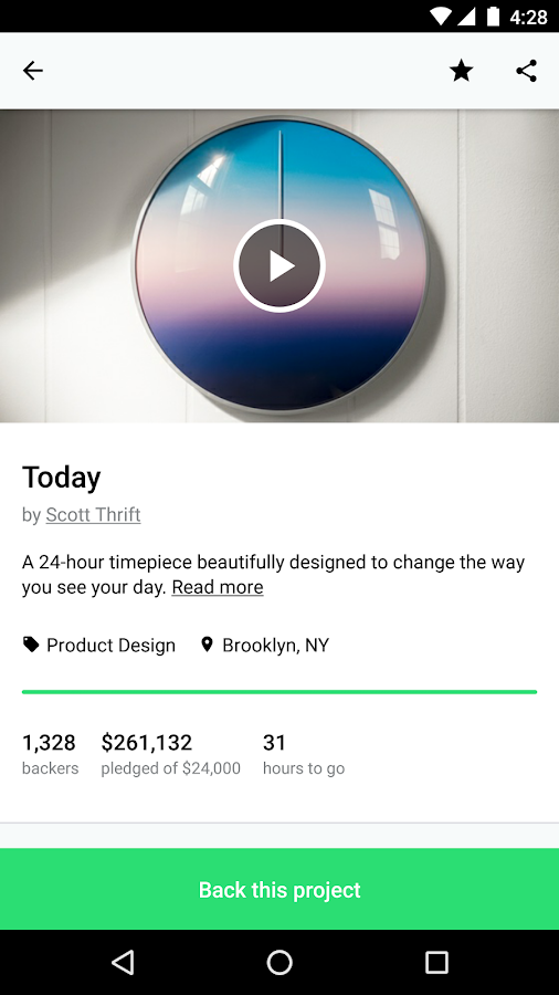 Screenshots of Kickstarter for Android