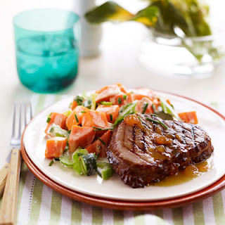Grilled Ham Steaks with Sweet Potato Salad.