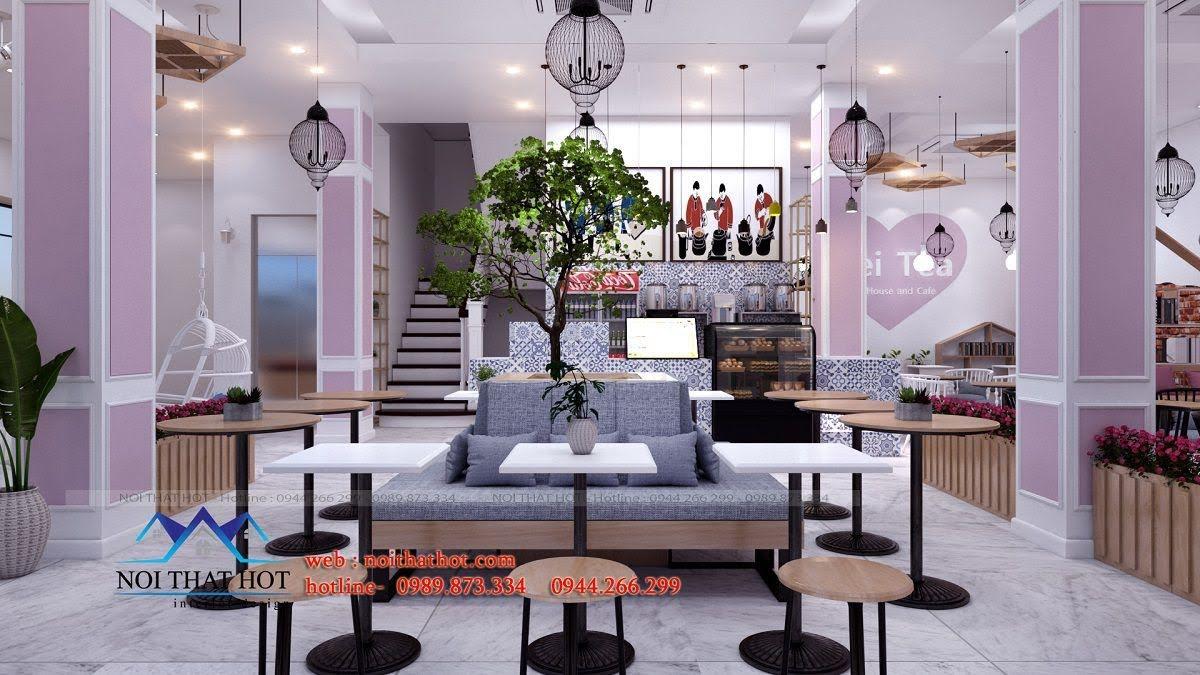thiết kế quán trà sữa hei tea 3