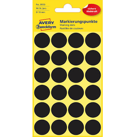 Etikett 18mm rund svart  96/fp