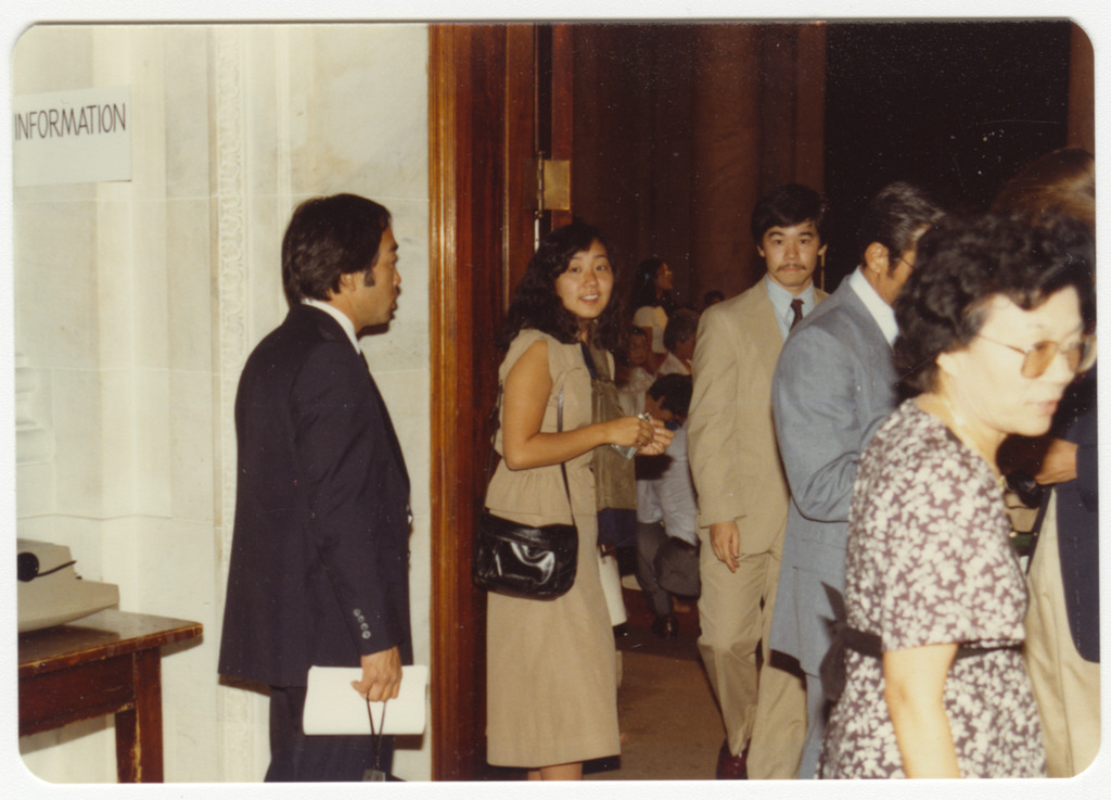 Japanese Americans walking into the hearing room in Washington, D.C.
