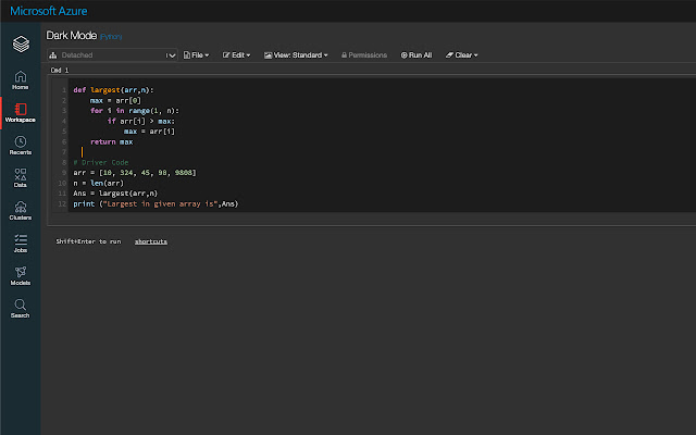 Azure Databricks Dark Mode