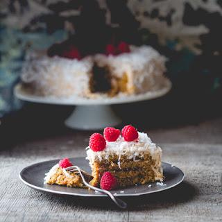 Coconut Raspberry Greek Yogurt Layer Cake.