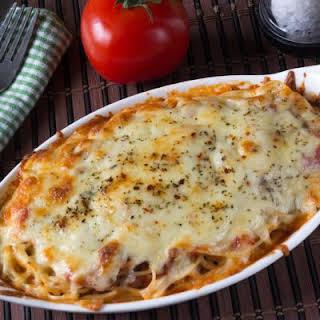 Cheesy Enchilada Pasta Casserole.