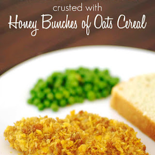 Chicken Tenders Crusted with Honey Bunches of Oats Cereal.