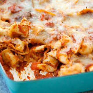 Cheesy Tortellini and Pepperoni Pizza Casserole.