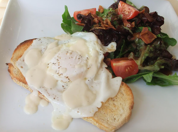 Alfredo Egg & Garlic Crostini With Baby Romaine Salad And Bacon Vinaigrette Recipe