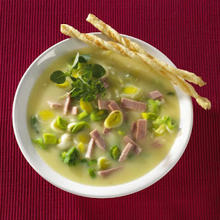 Potato, Leek and Ham Soup with Cheese Straws