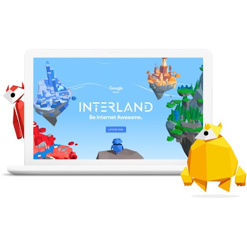 A laptop screen featuring Interland with floating kingdoms in the sky and two geometricly shaped characters.