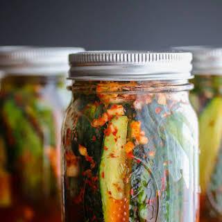 Spicy Korean Cucumber Kimchi Refrigerator Pickles.