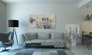 Grey color palette applied in a living room