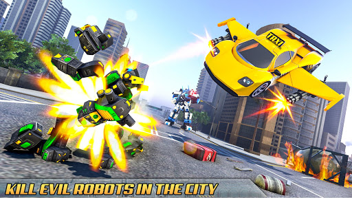 Flying Taxi Car Robot: Flying Car Games  screenshots 14