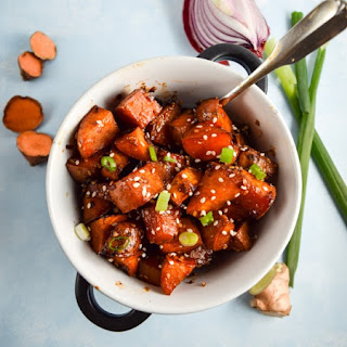 Roasted Teriyaki-Glazed Sweet Potatoes.