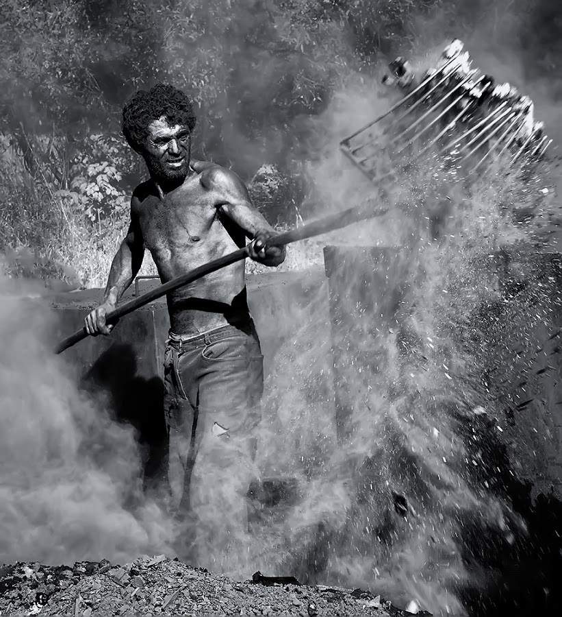 Charcoal burner by Laci Erdős - People Portraits of Men (  )