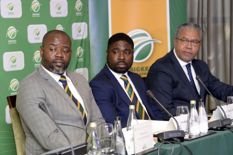 Cricket South Africa (CSA) chief executive Thabang Moroe (L), Naasei Appiah (C) and Norman Arendse (R) during the CSA Annual General Meeting at ORTIA Inter-Continental Hotel on September 08, 2018 in Johannesburg, South Africa.