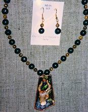 Photo: Copper enamel pendant, pyrite, gold vermeil  SOLD/ПРОДАНИЙ