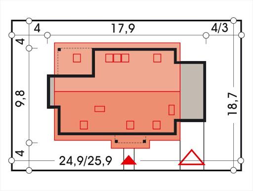 Ada wersja A z pojedynczym garażem - Sytuacja