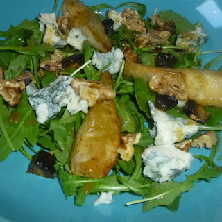 Warm Roasted Pear, Gorgonzola and Walnut Salad with a Sherry Vinegar, Pomegranate and Maple Dressing