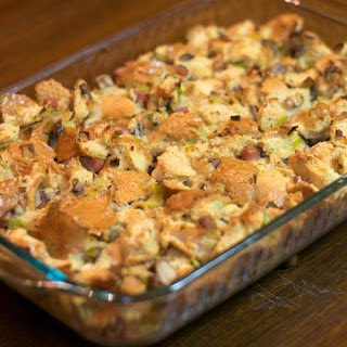 Savory Pancetta and Leek Bread Pudding.
