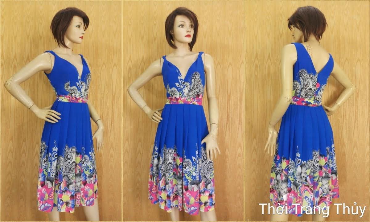 Váy xoè cổ chữ V vạt chéo hoạ tiết hoa V689 thời trang thuỷ hải phòng