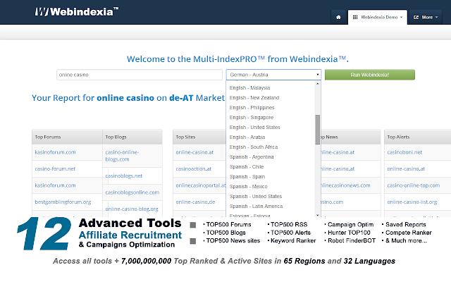 WEBINDEXIA™ PRO Tools Chrome Apps Store