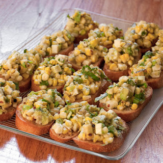Grilled Corn, Avocado, and Queso Fresco Crostini.