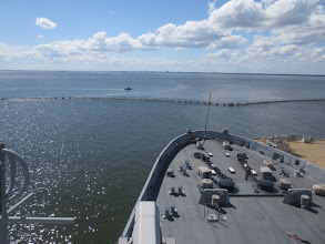 Photo: Looking out on the Elizabeth River from the USS Arlington's bridge...