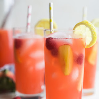 Homemade Raspberry Peach Lemonade.