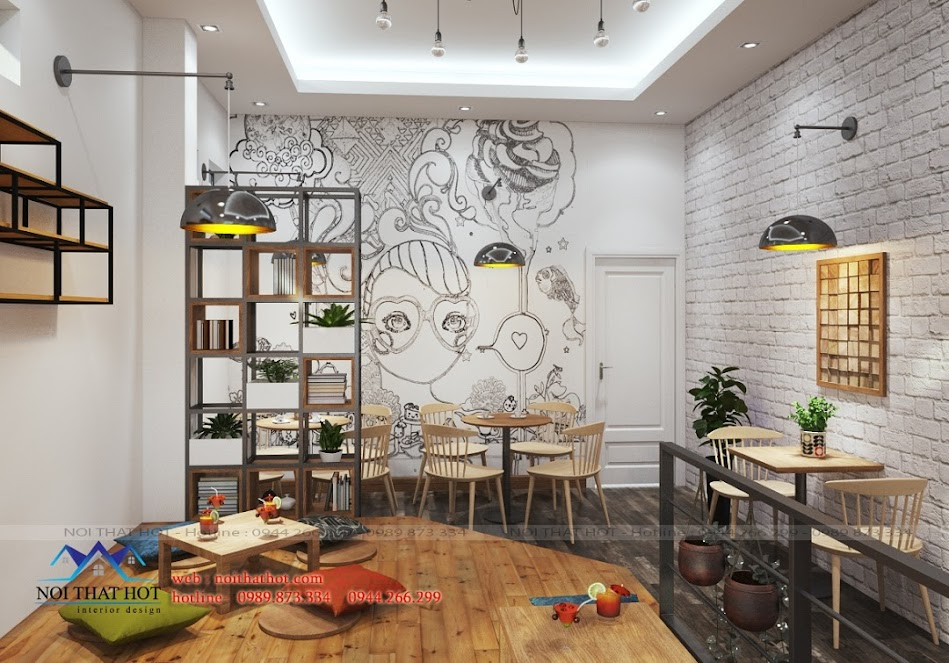 Thiết kế quán trà sữa 2 tầng đẹp