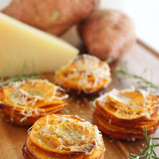 Crispy Parmesan-Rosemary Sweet Potato Stacks