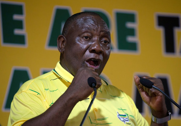President Cyril Ramaphosa speaks during a rally celebrating the 107th anniversary of the ANC in Durban on Tuesday. Picture: REUTERS