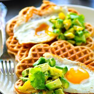 Cornmeal Cheddar Waffles with Fried Eggs + Avocado Pico De Gallo Recipe