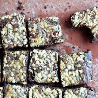 Fudgy Peanut Butter Swirl Brownies with Toffee + Sea Salt.