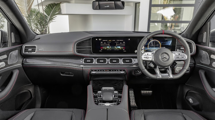 Red stitching and AMG Performance steering wheels identify these sporting GLE models. Picture: SUPPLIED