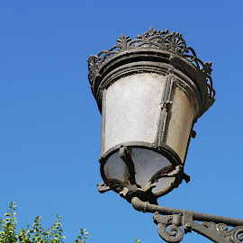 Lamp in Blue Sky I by Joatan Berbel - Artistic Objects Other Objects ( spain, granada, andalucia, lamp post, culture, artistic object, colorful, street photography )